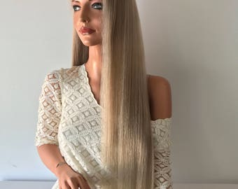 """Rooted Natural Ash Blond Full Lace Wig - 26"""""""