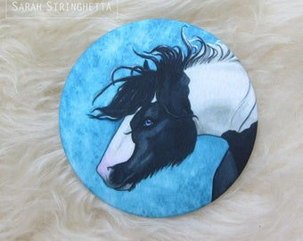 Pocket mirror with its cover satin - horse Gypsy Vänner in watercolor