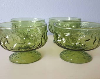 Anchor Hocking Milano Green Footed Dessert cups