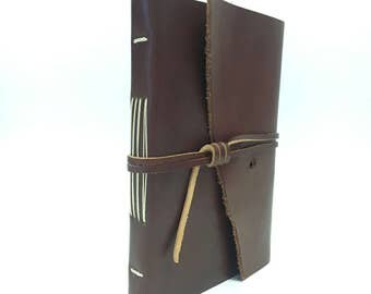 Chestnut brown leather wrap journal, sketchbook, notebook