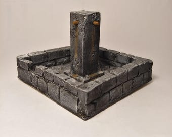 Wargame terrain for miniature game table - dry fountain