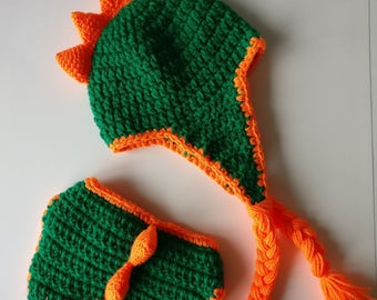 Crochet Dinosaur Outfit   0 to 6 months