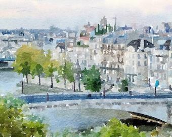 Notre Dame Cathedral Paris Original Watercolour Painting Q262
