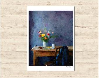 Room Watercolour Painting Postcard Poster Art Print Q105