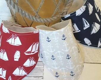 Nautical Bandana Drool Bibs, Boys bibs, Ships, Anchors, Blue, Red, Beige Bibs