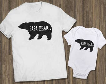 Papa Bear Baby Bear | Matching Baby Dad | Baby Reveal Dad,Newborn Dad Matching | Dad Baby Baby Outfit | Daddy Baby Shirts | Father Baby