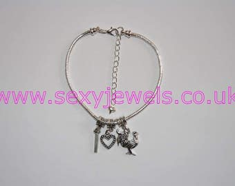 I love COCK Symbol Anklet Euro Ankle Chain Jewellery Fetish Slut Hotwife Lifestyle Swinger Sexy Wife Sex Addict Small Letter