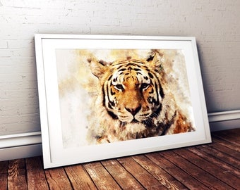 Tiger Watercolor Painting Digital Print, Tiger Portrait, Tiger, Animal, Wall Art, Printable, Artistic Painting, Instant Download