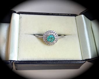 Natural Emerald Ring Sterling Silver Size P 1/2  'Certified' Exquisite Colour!