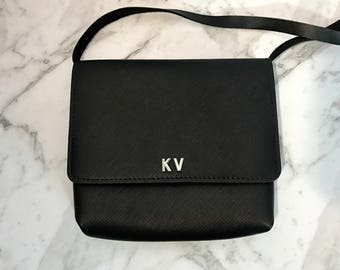 Personalised Monogram Leather Crossbody Bag, Handmade in Black