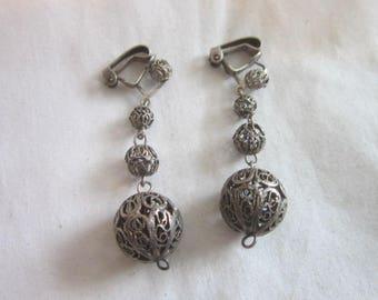 Vintage Sterling Silver Quadruple Filigree Ball Dangle Earrings