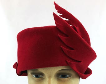 "Dramatic lipstick red velour felt cloche with felt ""feathers"""