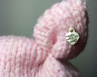 Baby hat with ears - PALE PINK