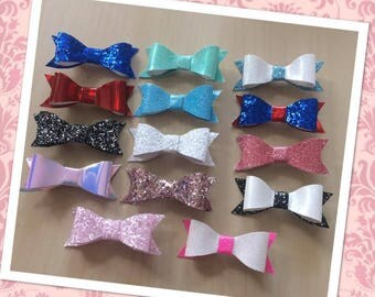 Mini Glitter Hair Bows