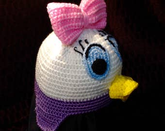Girls duck crochet beanie with pink bow
