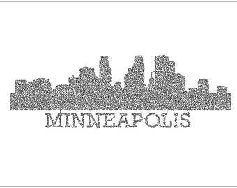 Single Line Skyline - Minneapolis