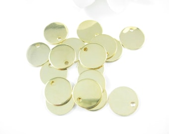 10 PC - 12mm Gold Stamping Blanks, Gold Plated Discs, Round Gold Blanks