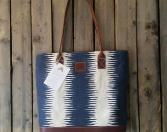 Large Blue and White canvas, Brown Leather Tote. Handmade