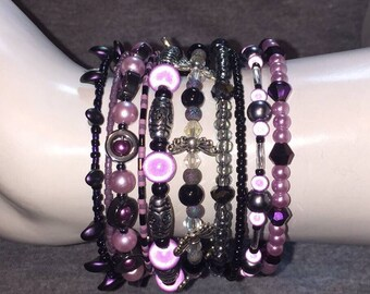 Gorgeous purple and grey memory wire  bracelet