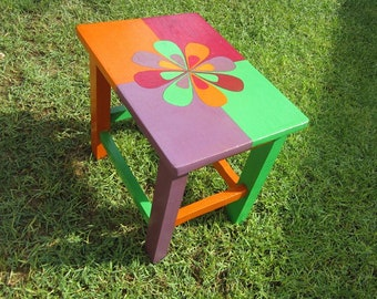 COLOURFULL STOOL . hand painted step stool. flower support hand painted furniture, child room, kid room furniture, hand made, four seasons