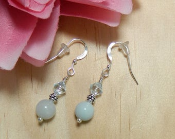 Gemstone earrings,AMAZONITE earrings,Amazonite jewelry,Gemstone jewelry,Healing jewelry,Natural Amazonite,Leverback, Clip on