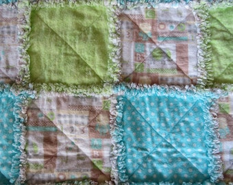 ABC and 123 Blocks with Cute Giraffes and Elephants Featured on Baby Rag Quilt!