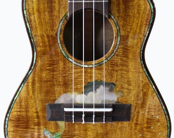 Kaytro - Ukulele Tenor Handmade 4 Strings - Mermaid Inlaid - Solid Acacia PQ Koa Island  2841