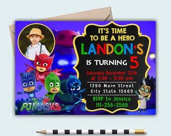 Pj Masks, Pj Masks Invitation, Pj Masks Birthday, Pj Masks Birthday Invitation, Pj Masks Party, Pj Masks Birthday Paty, Pj Masks Invite
