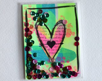 Mixed Media Heart shaker card