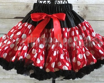 Girls Minnie Mouse Skirt, Girl Minnie Mouse Pettiskirt, Girls Tutu Skirt, Girls Disney Minnie Mouse Costume, Girls Disney Clothes
