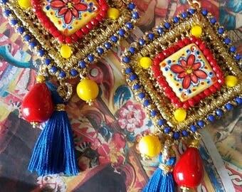 crochet earrings and ceramics