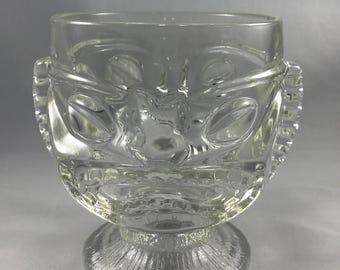 Vintage Tiki Mug - Two-Faced Clear Glass