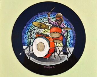 "Vinyl painting ""drummer"", Record Art"