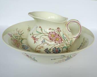 "Vintage Wash basin and pitcher - Luneville ""Bleuet"" collection"