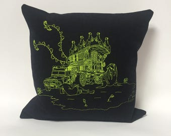 Dream; surreal embroidered cushion