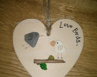 Love birds pebble heart