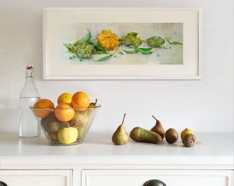 Original Watercolor Painting. Still life with Pumpkin, Artichokes, Green Peas. Wall art. Home Decor. Kitchen Decor.