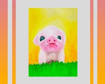 Cute custom pet aquarelle painting 10x15 4x6 animal