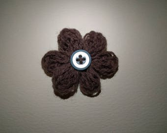 Hand Knitted Brown Flower Brooch