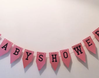 Pink and Dusty blue baby shower bunting