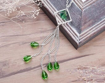 Silver tassel with green beading long necklace