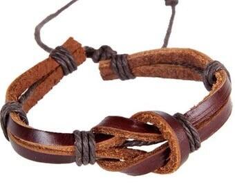 Knotted Black or Brown Leather Bracelet with Slip Knot Tie to Adjust to Any Wrist Size