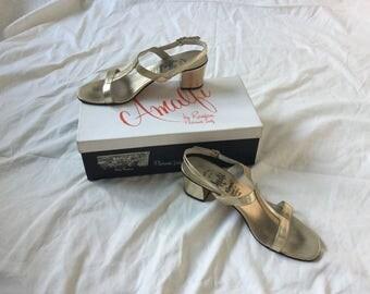 Amalfi by Rangoni Italian made mod 1960s gold leather sandals, with original box.