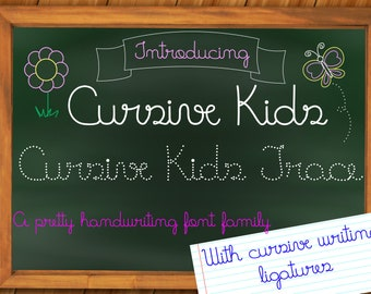 Handwriting fonts Cursive Kids and Cursive Kids Trace