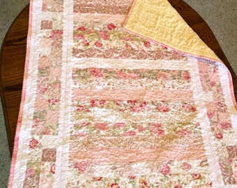 Handmade Baby Girl Quilt, Soft Pastels of Green Pink Peach Yellow Baby Quilt,  Floral Patterns, Baby Blanket, Toddler Quilt