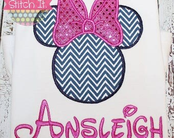 Personalized Girls Minnie Mouse silhouette appliqued shirt - Disney - Cruise - Vacation