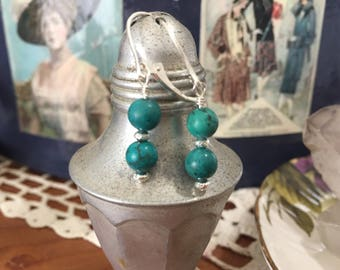 Turquoise and bali silver earrings