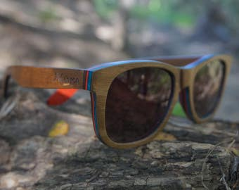Wood sunglasses. Canyon Flaming Gorge hand made wooden sunglasses. Skate board wood with brown gradient UV400 TAC polarized lenses