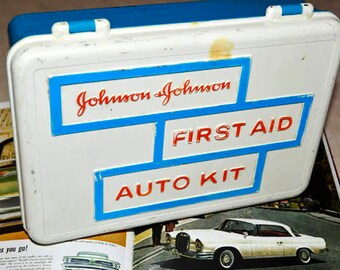 Vintage First Aid Auto Kit - Johnson & Johnson - Plastic Box - Health - Auto Collectible - Gifts for Him - Supply Kit - 1950's Movie Prop