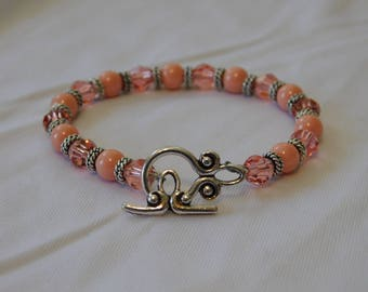 Peachy Pink Swarovski Crystal & Pearl Bracelet